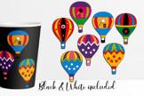 Hot air balloons in superhero theme clip art