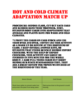 Hot and Cold Climate Adaptation Match Up