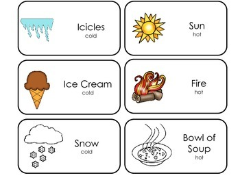 Hot and cold pictures for preschool