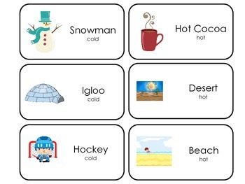 Hot and Cold Opposites printable Picture Word Flash Cards.