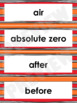 Hot and Cold Word Wall Words- Editable
