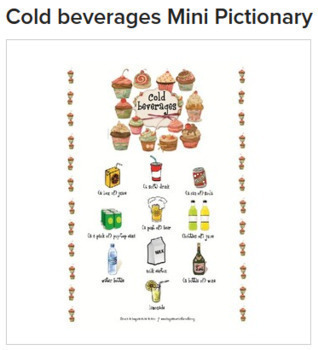 Hot and cold beverages BUNDLE: 2 Mini Pictionaries & activity