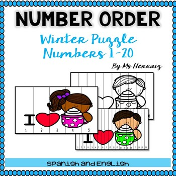 Hot cocoa NUMBER ORDER winter activity-Ordena numéros en español de invierno