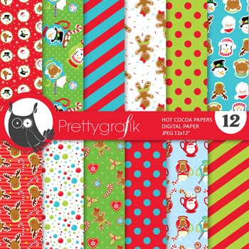 Hot cocoa christmas digital paper, commercial use, scrapbook papers - PS666