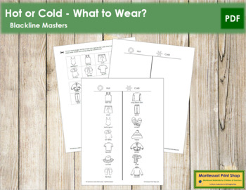 Hot or Cold - What to Wear? - Blackline Masters