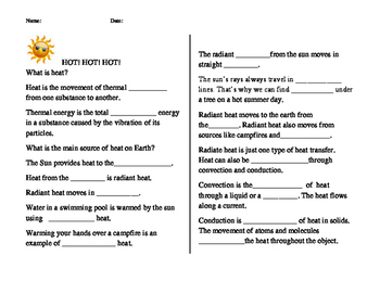 Hot! student worksheet to follow power point presentation