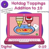 Hotdog Topping Addition to 10 Digital Activity