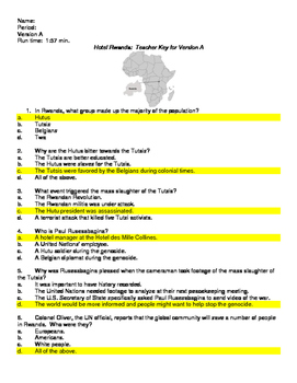 Hotel Rwanda Differentiated Movie Guides and Keys