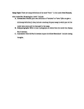 Hotel Rwanda Lesson/Worksheet