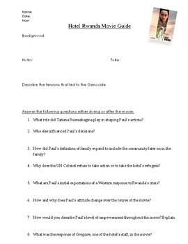 hotel rwanda movie guide by world history rocks tpt rh teacherspayteachers com hotel rwanda movie discussion questions answers Hotel Rwanda Student Guide