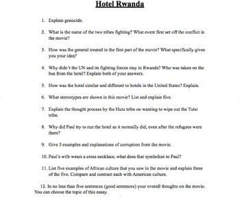 psychology movie guides resources lesson plans teachers pay  hotel rwanda movie questions hotel rwanda movie questions