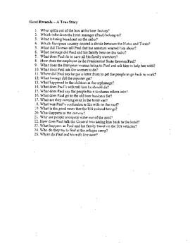 Hotel Rwanda Movie Questions