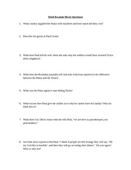 Hotel Rwanda Movie Viewing Questions