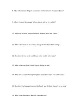 Hotel Rwanda Unit: Study Guide, Background, Permission Slip for Film