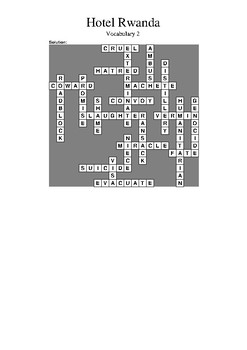 Hotel Rwanda - Vocabulary Crossword 2