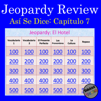 Hotel Vocabulary Jeopardy Game (Asi Se Dice II Chapter 7)