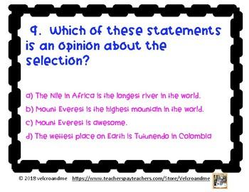 Hottest Coldest Highest Deepest Comprehension Questions
