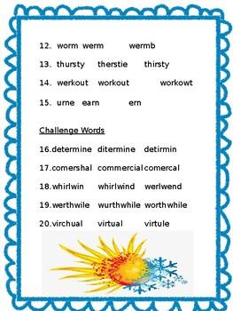 Hottest, Coldest, Highest, Deepest Multiple choice spelling test