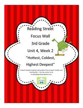 Hottest, Coldest, Highest Focus Wall Reading Street, Grade 3 CC 2013