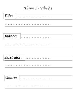 Houghton MIfflin Grade 1 Theme 5 Skills Focus Packet / Portfolio