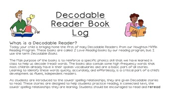 Houghton Mifflin 1st Grade Decodable Book Reading Logs - I Love Reading Books