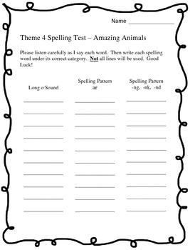 Houghton Mifflin 2nd Grade Spelling Tests - Theme 4