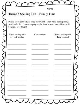 Houghton Mifflin 2nd Grade Spelling Tests - Theme 5