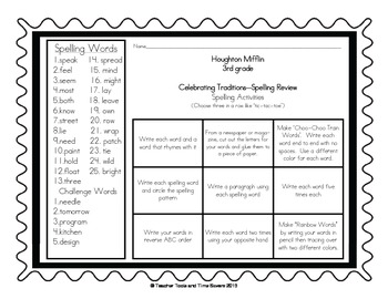Houghton Mifflin 3rd Grade Spelling Activities