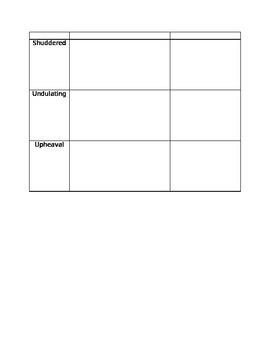 Houghton Mifflin Earthquake Terror Vocabulary Sheet