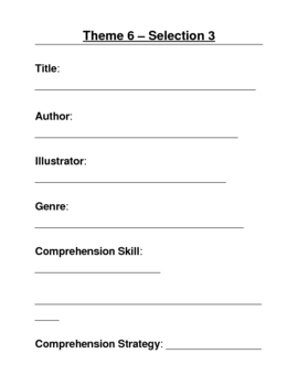 Houghton Mifflin Grade 3 Theme 6 Skills Focus Packet / Portfolio