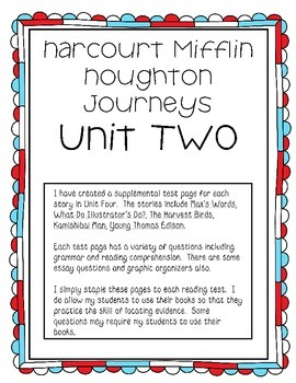 Houghton Mifflin Harcourt Journeys UNIT TWO Extended Test Pages
