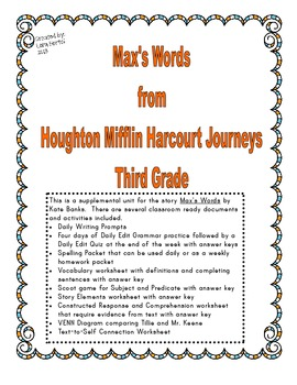 Houghton Mifflin Harcourt Journeys 2014 Third Grade Max's Words Story