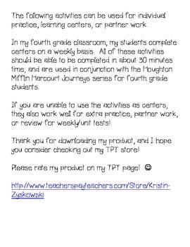 Journeys Grade 4 Supplemental Center Activities: Because of Winn-Dixie