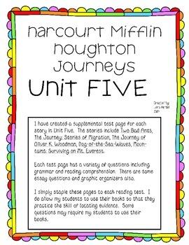 Houghton Mifflin Harcourt Journeys UNIT FIVE Test Supplemental Pages