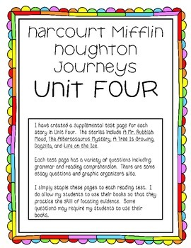 Houghton Mifflin Harcourt Journeys UNIT FOUR Extended Test Pages