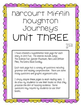 Houghton Mifflin Harcourt Journeys UNIT THREE Extended Test Pages