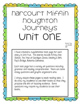 Houghton Mifflin Harcourt Mifflin UNIT ONE Extended Test Pages