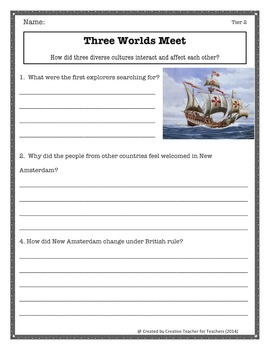 First Explorers (Three Worlds Meet Unit 2 Chapter 3) - Differentiated Worksheets