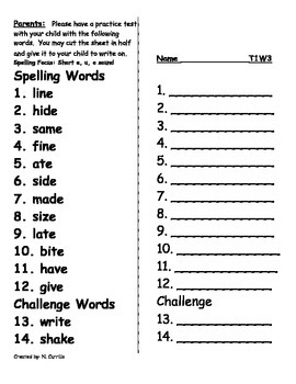 Spelling Practice Homework Theme 1 Week 3 Houghton Mifflin