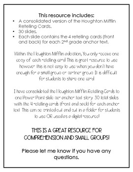 Houghton Mifflin Journey's 2nd Grade Retelling Cards