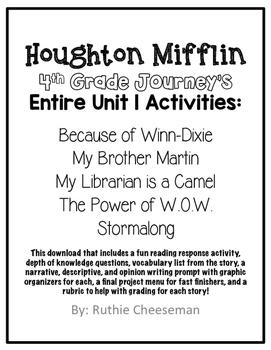Houghton Mifflin Journey's Fourth Grade Activities Unit 1