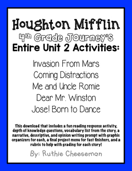 Houghton Mifflin Journey's Fourth Grade Activities Unit 2