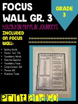Houghton Mifflin Journey's Grade 3 Focus Wall Printable Take-Home Papers