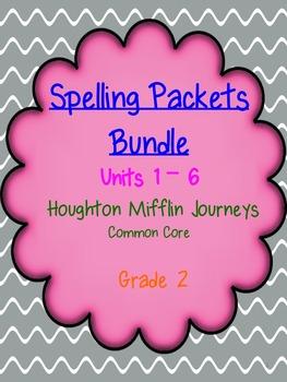 Spelling Packets Bundle - Grade 2 - Houghton Mifflin Journeys (Units 1-6)