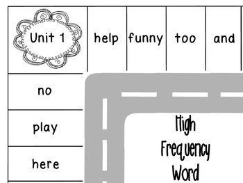 Journeys First Grade High Frequency Word Parking Lot: Unit 1