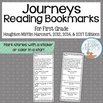 Journeys First Grade Reading Bookmarks