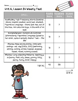Houghton Mifflin Journeys First Grade Score Sheets - Unit 6
