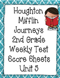 Houghton Mifflin Journeys First Grade Weekly Test Score Sheets - Unit 5
