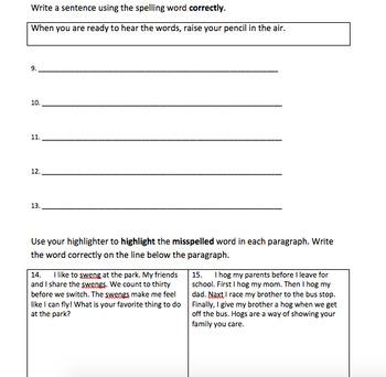 Houghton Mifflin Journeys Grade 3 Spelling Tests Unit 1