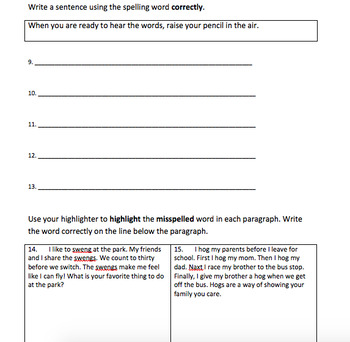 Houghton Mifflin Journeys Grade 3 Spelling Tests Unit 2